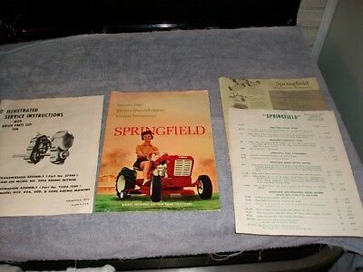 1960 Foldout Color Brochure Springfield Riding Mowers Suburban Tractors & More