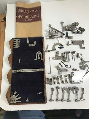 Antique 1889 Singer Sewing Machine Oak Puzzle Box with Manual & 38 Attachments