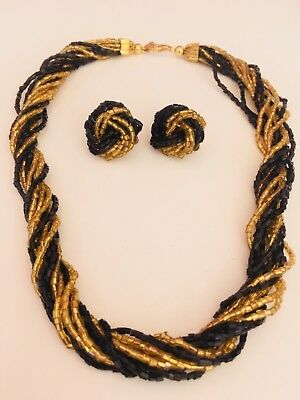 "Vintage Black & Gold Glass Beaded 18"" lg. Choker Style Necklace Clip on Earrings"