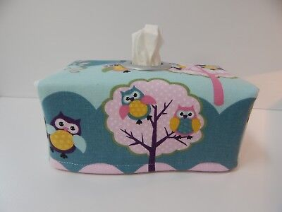 Tissue Box Cover Tree Owls Aqua Pink with Circle Opening - Great Gift!