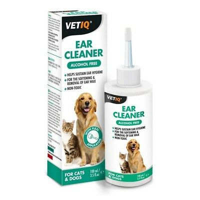 VetIQ Ear Cleaner for Cats & Dogs 100ml - Gentle Non Toxic Soothes Irritation