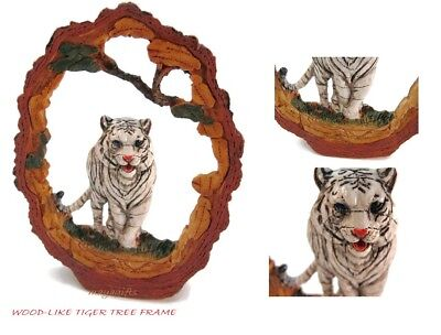 "White Tiger Faux Carved Wood Look Bark Frame Figurine Resin 6.5"" High New in Box"