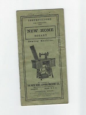 New Home Rotary Sewing Machine Instruction Booklet Circa 1900