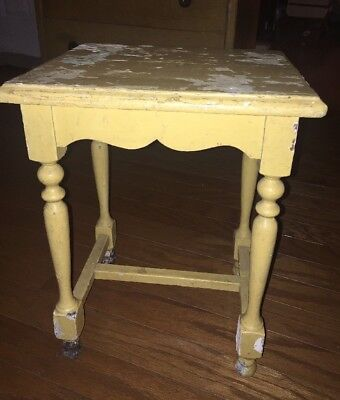 Antique Small Yellow Table Victorian Shabby And Chic Chippy Paint French Look
