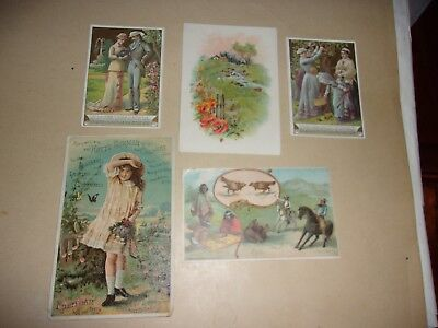 5 victorian trade cards, writting on back, free postage ==very good condition