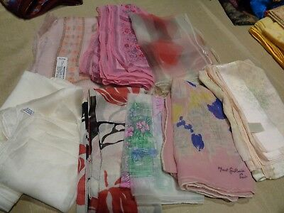 Vtg Lot of 10 Womens Scarves Various Sizes Pinks White Floral Abstract