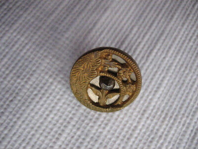 Vintage Small 1/2 Inch Metal Gold Tone Button, Twinkle, Plant Life - M55