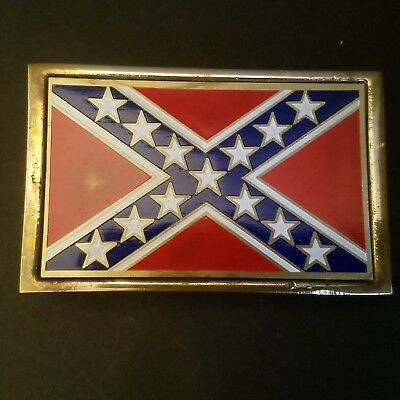 Vintage Used Confederate Brass Belt Buckle #107