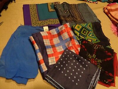 Vtg Lot of 7 Womens Head Neck Scarves Various Sizes Red Blue Squares Solid