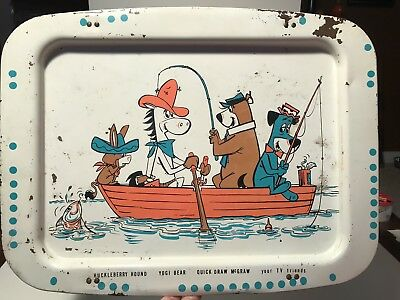 Vintage Folding Metal TV Tray Yogi Bear, Huckleberry Hound, McGraw