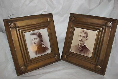 A Pair of Antique Brass/Copper heavy Picture Frames
