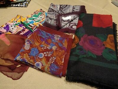 Vtg Lot of 6 Womens Head Neck Scarves Various Sizes Burgundy Florals 1 is NEW