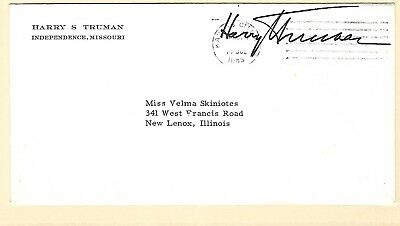 Harry Truman autograph on a 1963 cover to New Lenox Illinois