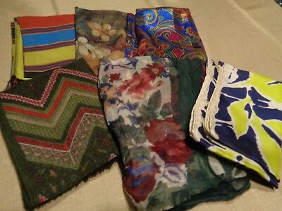 Vtg Lot of 6 Womens Head Neck Scarves Various Sizes Blue Red Green White Floral