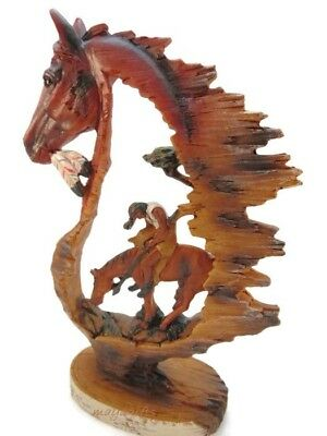 9'' Tall Faux Wood Native American Indian End of Trail Horse Figurine Home Decor