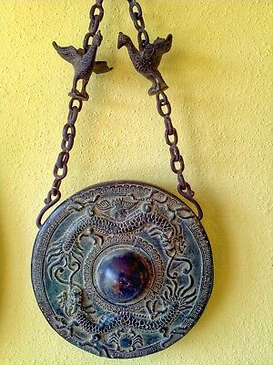 Cast Bronze Gong on Chicken-Adorned Chain