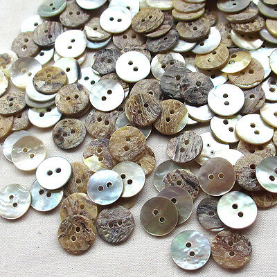 New Upick 11/13/15mm Shell Buttons Sewing Craft Buttons 2 Holes100pcs