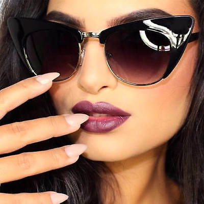 Trendy Cat Eye Sunglasses Half Frame Metal Bridge Gradient Lens Women Fashion