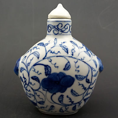 Chinese Handmade Exquisite  Blue and white porcelain pattern snuff bottle   A637
