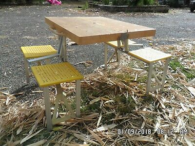 Old Vintage Folding Picnic Table and Seat Setting - needs a clean!