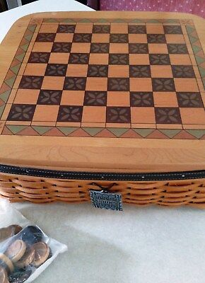Longaberger 2001 Father's Day Game Basket, Lid, Protector, Checkers