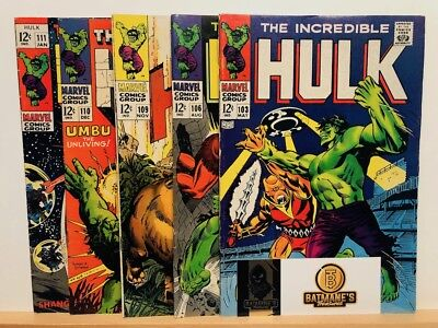 Incredible Hulk 103 106 109 110 & 111 Lot Silver Age By Stan Lee (6.0-7.0) F/VF