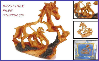 65 Wood Look Carved End Of The Trail Horse Figurine Statue Home Decor Gift