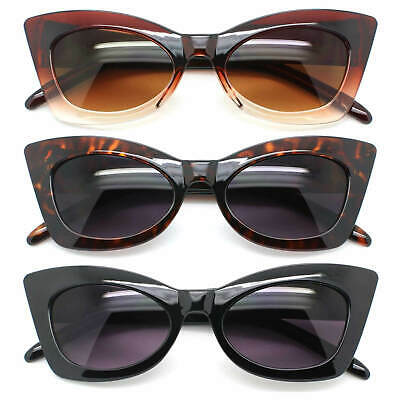 Cat Eye Retro Sunglasses Plastic Frame Gradient Lens Black & Brown Women Fashion