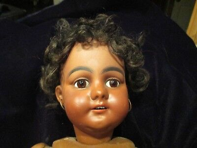 """Antique Black Americana Doll - Approx 18"""" Tall - Bisque Head - SGN"""