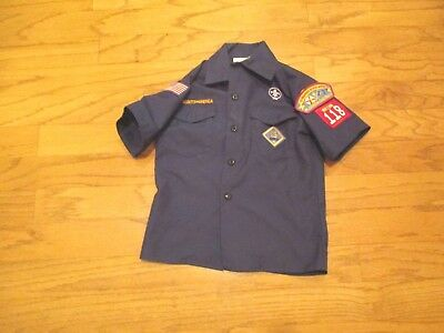 BSA Cub Scout Blue Uniform Shirt Sz Youth Small SS Made in USA New patches