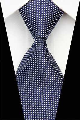 Navy White Stripe Man Classic JACQUARD Woven Necktie Casual Business Tie