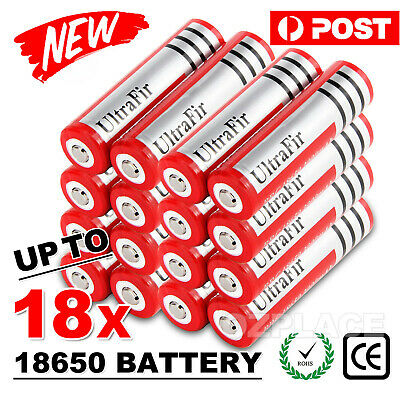 4/ 8/ 18x Ultrafire BRC 18650 3.7V Rechargeable Lithium Battery Li-ion Batteries