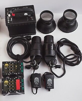 Profoto Pro7B 1200w Pack, 2 batteries, 2 chargers, 2 ProB Heads with reflectors