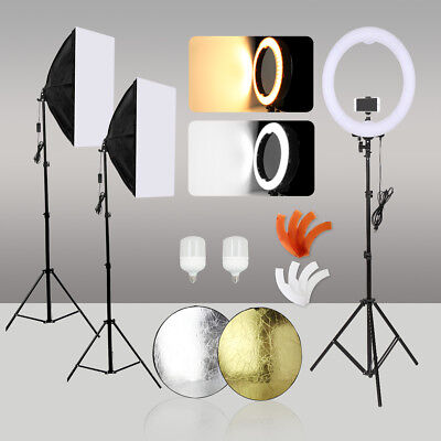 Photography Softbox Kit LED Ring Dimmable Light with Diffuser Light Stand Studio
