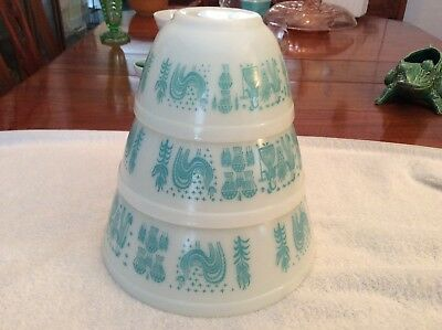 Pyrex Blue Turquoise Amish 3 Mixing  Bowls  401, 402 And 403