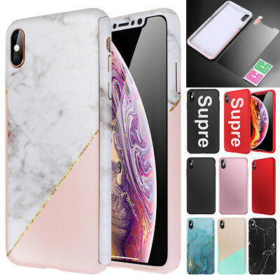 iPhone XS Max XR XS Marble Case 360° Full Protective Hard Cover+Screen Protector