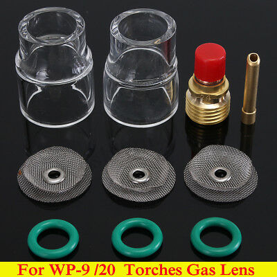 "10x 2.4mm 3/32"" TIG Welding Torch Gas Lens #12 Pyrex Cup Collet Kit For WP-9 20"