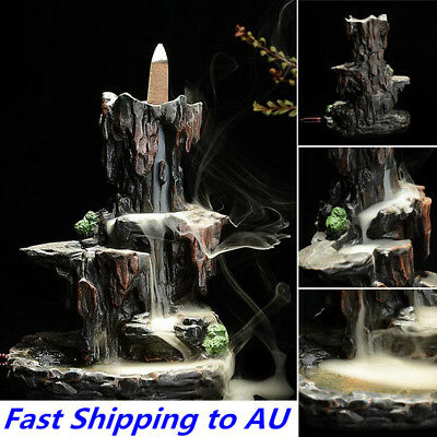 Ceramic Mountain Waterfall Smoke Backflow Incense Burner Cones Holder + 7 Cone