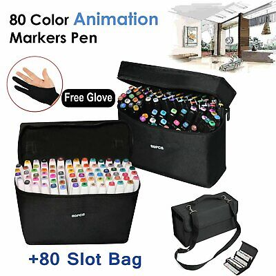 80 Colors Sets Oil marker Pen Dual Headed Artist Sketch Copic Animation + Bag