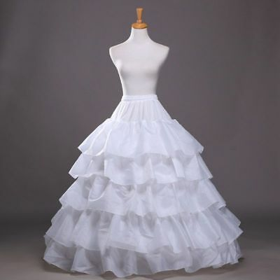 5 Ruffles 4 Hoops Petticoats Mermaid Crinoline Skirt Wedding Dress Underskirt