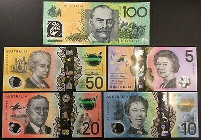 Banknote - Set of Australia Polymer Bank Notes, $100 $50 $20 $10 $5 Dollar, UNC
