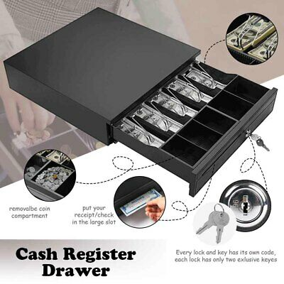 Cash Drawer Money Box Till Removable Insert w/ 5 Bill 5 Coin Tray POS Printers
