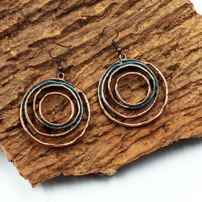 Vintage Antique Round Earring Punk Style Copper Drop Earrings Girl Jewelry Gift