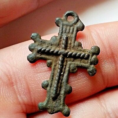 Ancient Byzantine bronze double-sided cross pendant