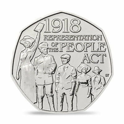Representation Of The People Act 50p Fifty Pence Coin 1918-2018 UNC Sealed Bag