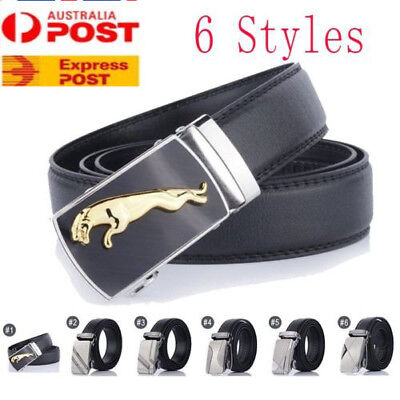 Men's Genuine Leather Belt Automatic Buckle Ratchet Waistband Leisure Business
