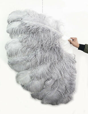 """light gray XL 2 layers Ostrich Feather Fan 34"""" x 60"""" with leather Travel Bag"""