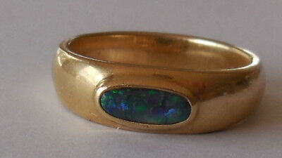 Stunning genuine solid black opal 14ct gold signet ring from 80's, sz 9, big 6gm