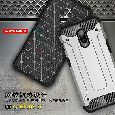 For OnePlus 6 6T, Shockproof Defender Rugged Hybrid Armor Hard Rubber Cover Case
