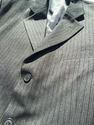 Pinstripe Suit Unusual Black & Brown 3 Button Mod Cut Very Stylish By Fernleigh
